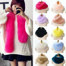 Women Faux Fox Rabbit Fur Neck Long Scarf Collar Shawl Wrap Scarves Stole