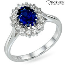 2.26 ct White Gold Princess Lady D Oval Blue Sapphire Engagement Ring 48746057