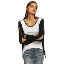Sexy Women Long Sleeve Patchwork Asymmetric Hem Back Cut Out Blouse Tops FT