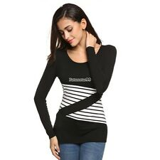 Casual Long Sleeve Stretch Bodycon Patchwork Slim Leisure Basic Top FT