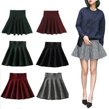 Sexy Women Stretch High Waist Skirt Plain Skater Flared Pleated Short Dress HOT