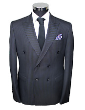Jack Martin - Black Pinstripe Double Breasted Superior Semi Slim Fit Suit