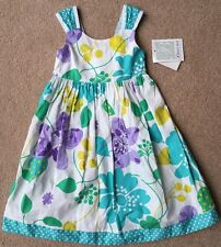 NWT girls size 5 & 6 Bonnie Jean White Turquoise Flower Sleeveless Dress SPRING!
