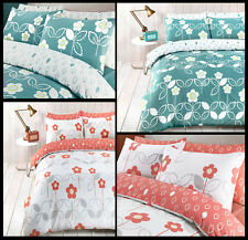 Scandi Floral Teal And Coral Duvet Cover Bedding Quilt Set And Pillowcases
