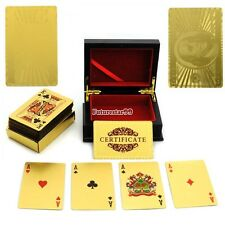 24K Gold Leaf Playing Cards 54 Card Poker Set 99.9% Pure Gold With Mahogany FT