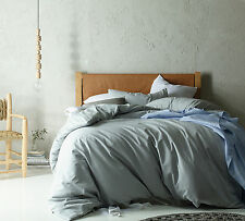 Dove Grey Linen Cotton Vintage Wash Quilt Doona Cover Set QUEEN KING Super KING
