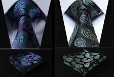 New Green Purple Black Yellow Paisley Floral 100% Silk Tie Hanky Set Holographic