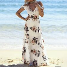 Halter Floral Print Long Maxi Dress Summer Beach High Split Party Dress