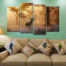 4PC Canvas Painting Wall Art Picture Deer Forest Sunset for Living Room No Frame