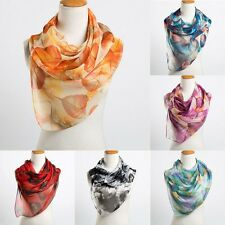 Women Fashion Leaves Printing All Season Long Silk Scarf Scarves Thick Shawl New