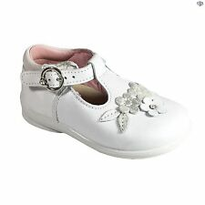 Ricosta Winsy Girls T Bar Buckle White Pink Fuchsia Summer Shoes Size 19 - 26