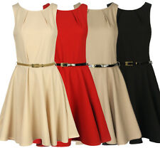 Womens Ladies Skater Swing Party Belted Dress Sizes 8 10 12 14.