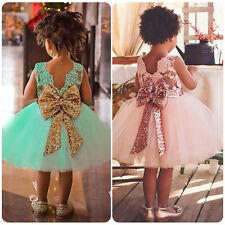 Baby Flower Girl Kids Tutu Dress Sequins Princess Party Wedding Tulle Dresses