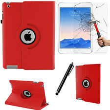 Red 360 PU Leather Case Cover Folio Folding Smart Stand For Apple iPad 2/3/4