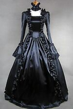 Black Long Sleeves Satin Lace Classic Gothic Lolita Dress #400 Costume Cosplay
