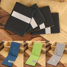 Men's Slim Money Clip Stainless Steel ID Credit Card Holder Pu Leather Wallet