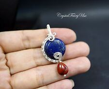 Wire Wrapped Lapis Pendant - Lapis Jewelry - Sterling Silver Lapis Necklace - Wi