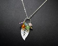 Natural Shell Leaf Necklace Sterling Silver White Stone Necklace Decorated with
