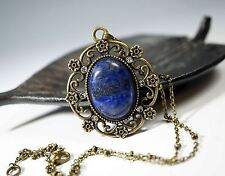 Vintage Lapis Lazuli Necklace, Long Chain Lapis Necklace Bronze - Genuine Afghan