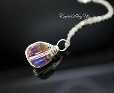 Rainbow Crystal Necklace - Silver Wrapped Swarovski Crystal Necklace - Tiny Cube