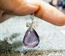 Natural Teardrop Amethyst Necklace - Sterling Silver Amethyst Jewely