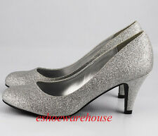 Round Toe Cutie Comfy Mid Heel Pumps Shoes Silver Glitter