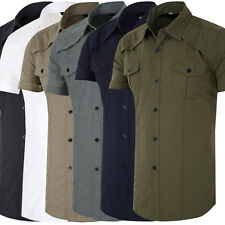 TRENDY Mens Formal Casual Shirts Tops Slim Fit TEENS Short Sleeve Dress Shirts
