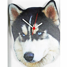HUSKY DOG WOODEN QUARTZ WALL CLOCK DESIGNED & HAND MADE IN UK BRAND NEW & BOXED