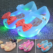 Kids Girls Toddler Lovely Luminous Flat Jelly Shoes Bow Princess Sandals Shoes