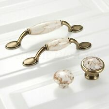 Vintage Marble Porcelain Kitchen Cabinet Handles Antique Cupboard Door Knob Pull