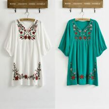 Women 70s Ethnic Floral Embroidered Hippie Boho Puff Sleeve Blouse Dress
