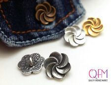 6 pcs/pk Spiral Flower Pewter Button with back loop