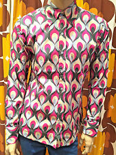 New men's Run&Fly retro vintage style 60's/70's psychedelic lilac pattern shirt