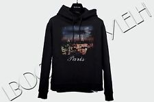 BALENCIAGA 635$ Authentic New Black Cotton Paris Logo Print Hooded Sweatshirt