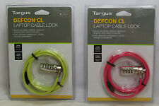 Targus Defcon CL Laptop Netbook Cable Combination 6.5 feet Long Pink Or Green