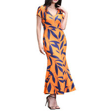 Women Vintage 50s Print Casual OL Work Wear Fishtail Pencil Bodycon Formal Dress