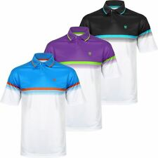 ISLAND GREEN 2017 CHEST STRIPE LC AND LS PERFORMANCE MENS GOLF POLO SHIRT