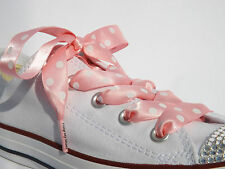 Pink & Coloured Polka Dot Ribbon Shoelaces with LOGO Aglets for Trainers & Pumps