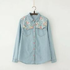 New Women Spring Fashion Korean Blouse Sweet Long Sleeve Jeans Denim Shirt Tops