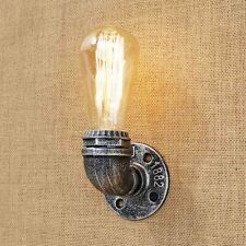 Antique Silver Pipe Wall Lamp Single Light Industrial Vintage Retro Rustic Art