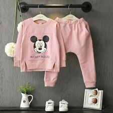 2pcs Kids Baby Girls Mickey Mouse Long Sleeve Tops+Pants Kids Sport Clothes Sets
