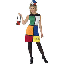 80's Rubiks Cube Ladies Retro 1980s Womens Fancy Dress Costume Outfit 38791