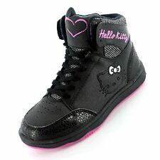GIRLS OFFICIAL HELLO KITTY BLACK HI TOP TRAINERS SHOES BOOTS UK SIZE 10-2