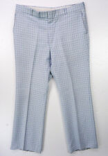 Vintage 70s Light Blue Denim PLAID Old Man Slacks Prep Ugly Golf Pants 38x32