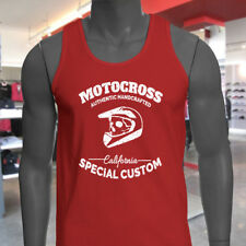 MOTOCROSS CALIFORNIA SKULL BIKER DIRT FREESTYLE Mens Red Tank Top
