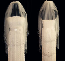 New White Two Layer Wedding Veils Fingertip Bridal Veil With Crystal Comb Ivory