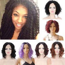 HOT Women Full Wig Lace Front Medium Curly Hair Daily Wigs Black Brown Blonde