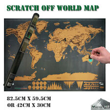 SCRATCH OFF  PERSONALIZED WORLD MAP  WHERE YOU TRAVEL DELUXE POSTER  LAYER ATLAS