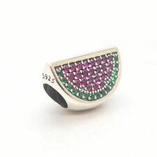 Authentic Genuine Sterling Silver Watermelon Red & Green Pave Charm bead