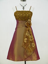 Cherlone Satin Gold Sparkle Prom Ball Party Cocktail Evening Bridesmaid Dress